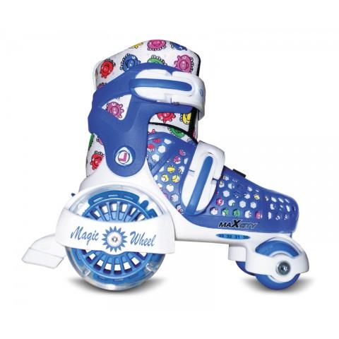Роликовые коньки детские (раздвижные) MAXCITY Magic Wheel blue (2014)