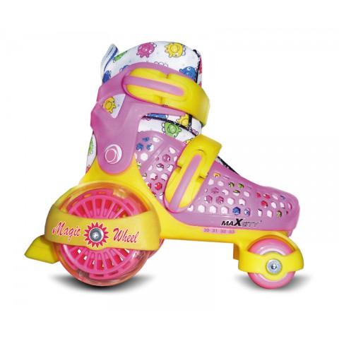 Роликовые коньки детские (раздвижные) MAXCITY Magic Wheel pink (2014)