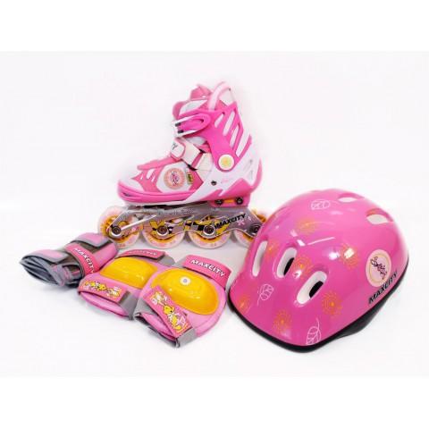 Роликовые коньки детские (раздвижные) MAXCITY Little Rabbit Combo pink