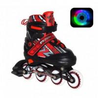 Роликовые коньки раздвижные RGX Racing Red LED