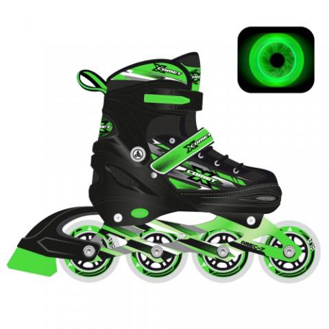 Роликовые коньки X-Comet Green LED подсветка колес