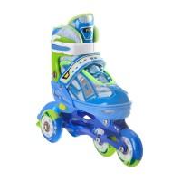 Роликовые коньки раздвижные RGX Yuppie Blue LED подсветка колес