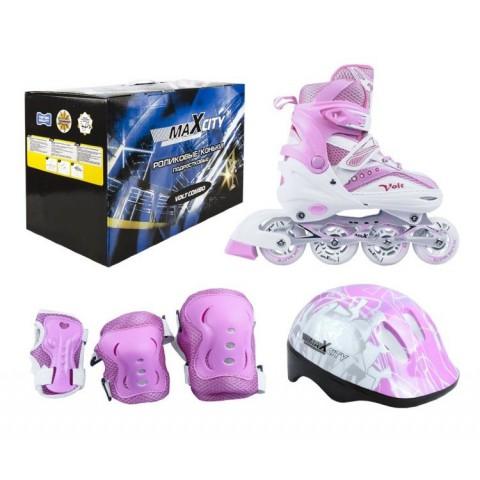 Набор роликовых коньков с защитой MaxCity Volt Combo pink