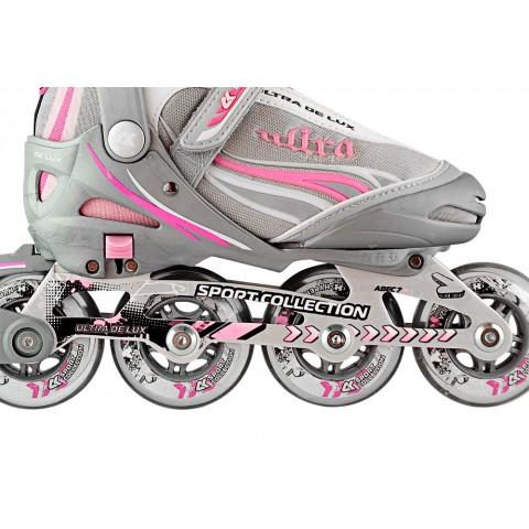 Роликовые коньки детские раздвижные СК Ultra Delux pink