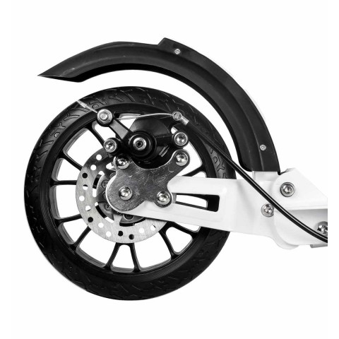 Самокат Hello Wood HW-RACER LUX белый c ручным тормозом