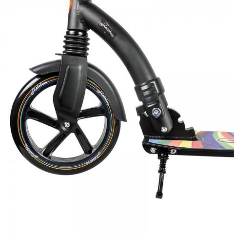 Самокат Hello Wood Rainbow черный с передним амортизатором
