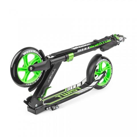 Самокат с большими колесами Weelz Twist зеленый с сумкой