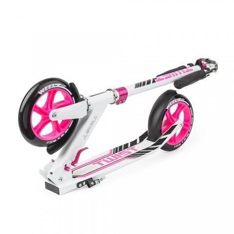 Самокат с большими колесами Weelz Twist розовый с сумкой