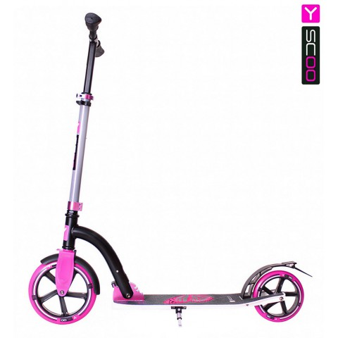 Самокат с большими колесами Y-SCOO RT 230 Slicker Family design Butterfly pink