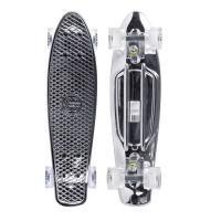Мини-круизер Maxcity Plastic Board METALLIC silver с светящимися колесами