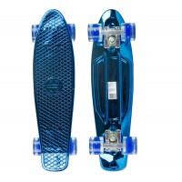 Мини-круизер Maxcity Plastic Board METALLIC синий со светящими колесами