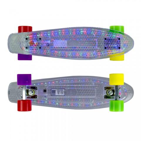 Мини-круизер Maxcity Plastic Board LED small со светящейся платформой