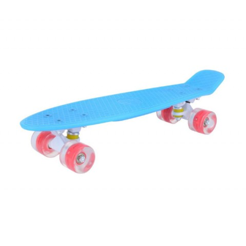 Мини-круизер Maxcity Plastic Board GLOSS small blue со светящими колесами