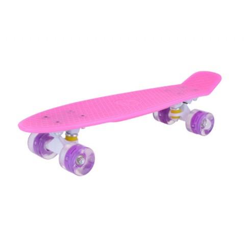Мини-круизер Maxcity Plastic Board GLOSS small pink со светящими колесами