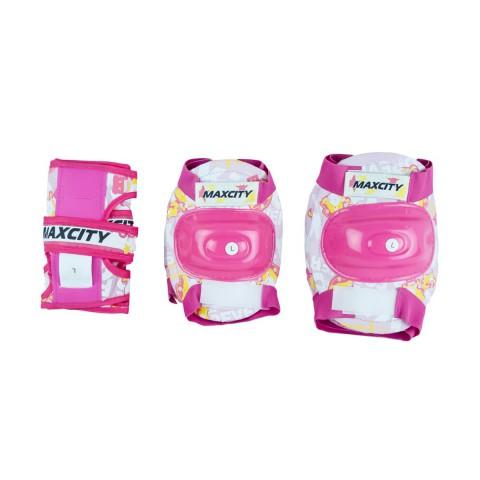 Набор роликовых коньков с защитой MaxCity Leon fuxia Combo